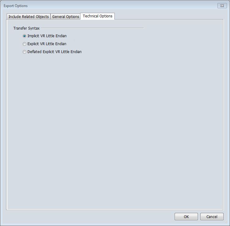 Varian Eclipse Export Dialog