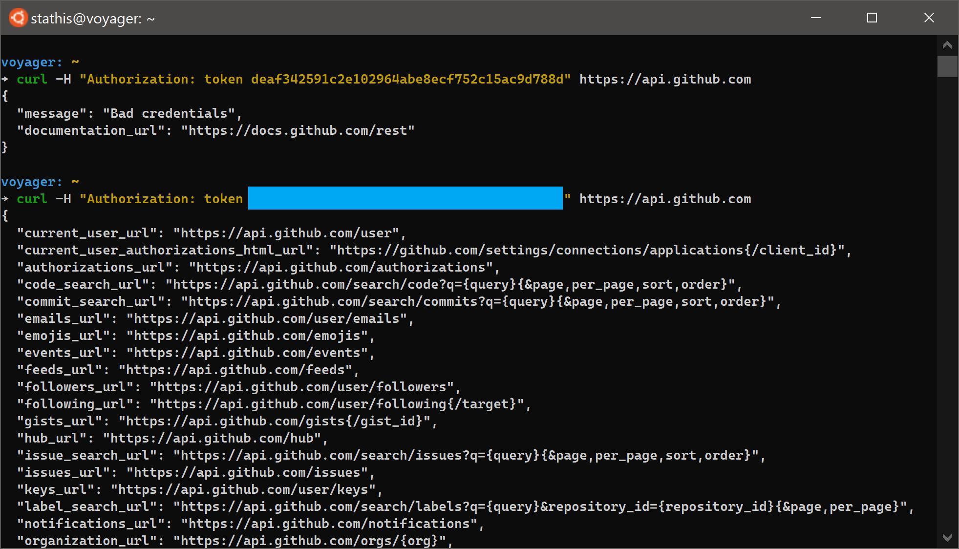 GitHub authenticate via curl