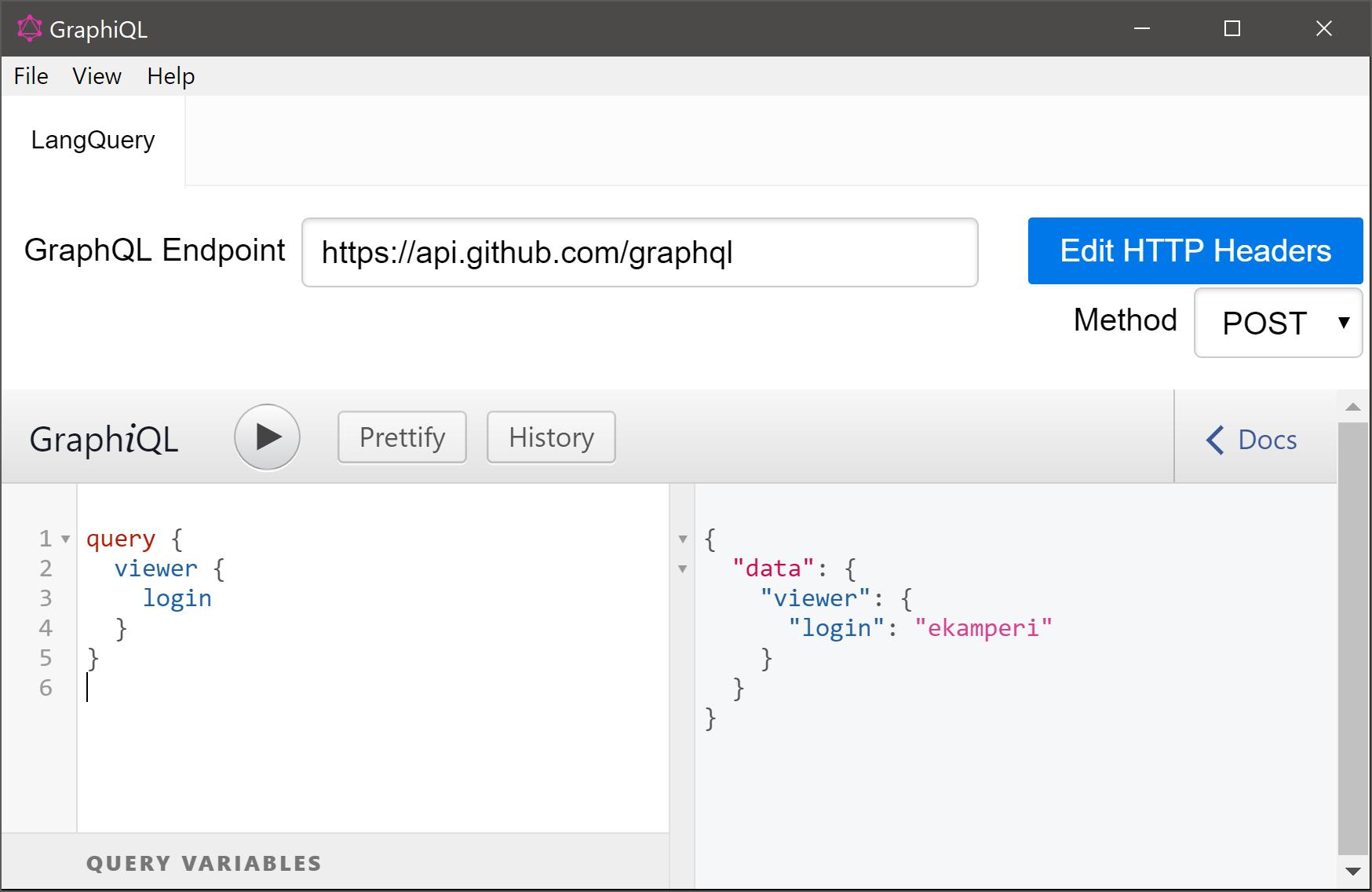 GraphiQL screenshot